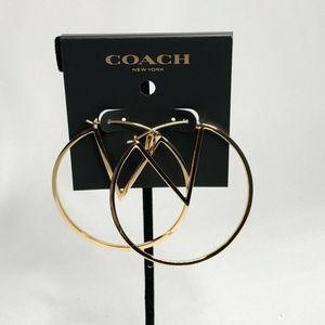 """Coach X Pac-Man Hoop Earrings 2"""" Hoops Gold-Plated"""